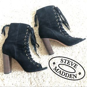 Steve Madden Black Lace Up High Heeled Boots
